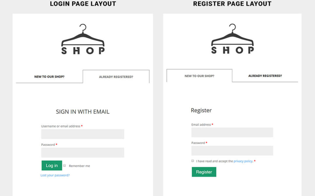 Create a custom login/register page for WooCommerce using Divi BodyCommerce