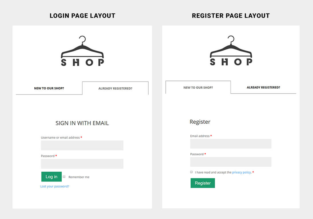 WooCommerce Login/Register custom layout