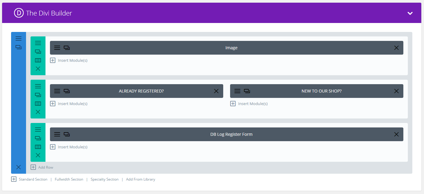 Register backend screenshot