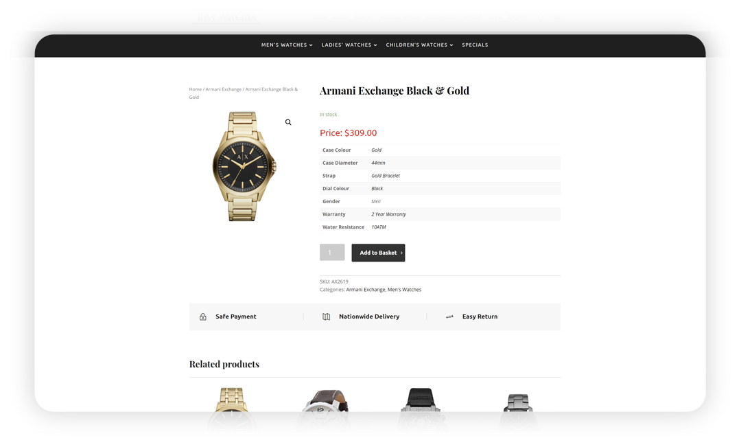 justwatches.com.au shop page