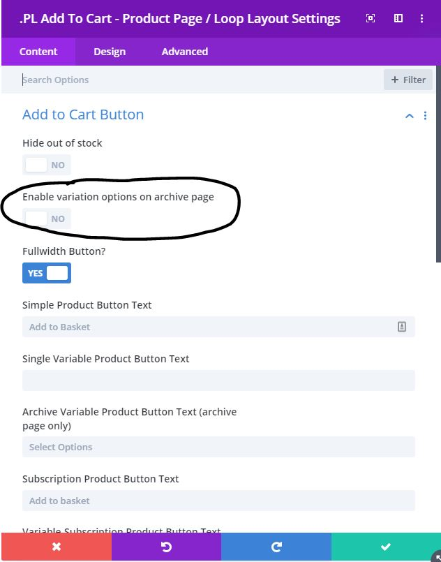 variation add to cart category page Divi