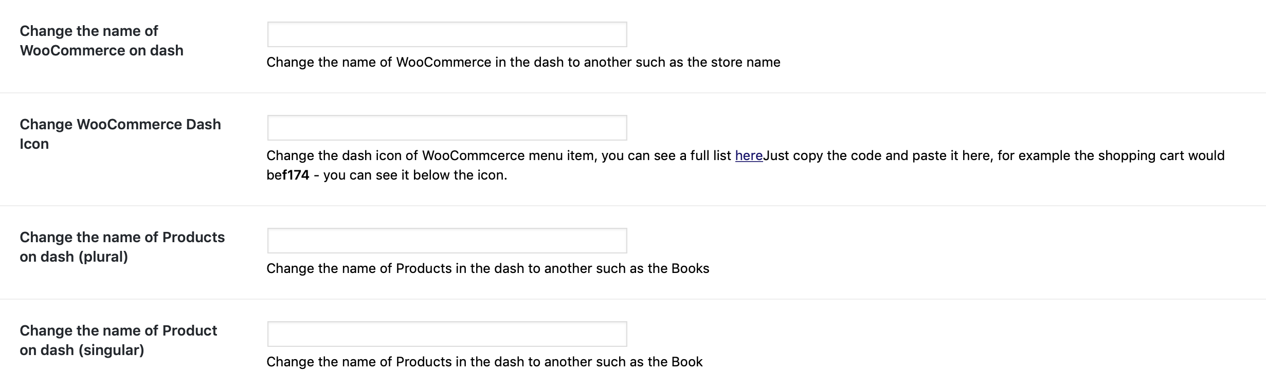 WooCommerce admin labels
