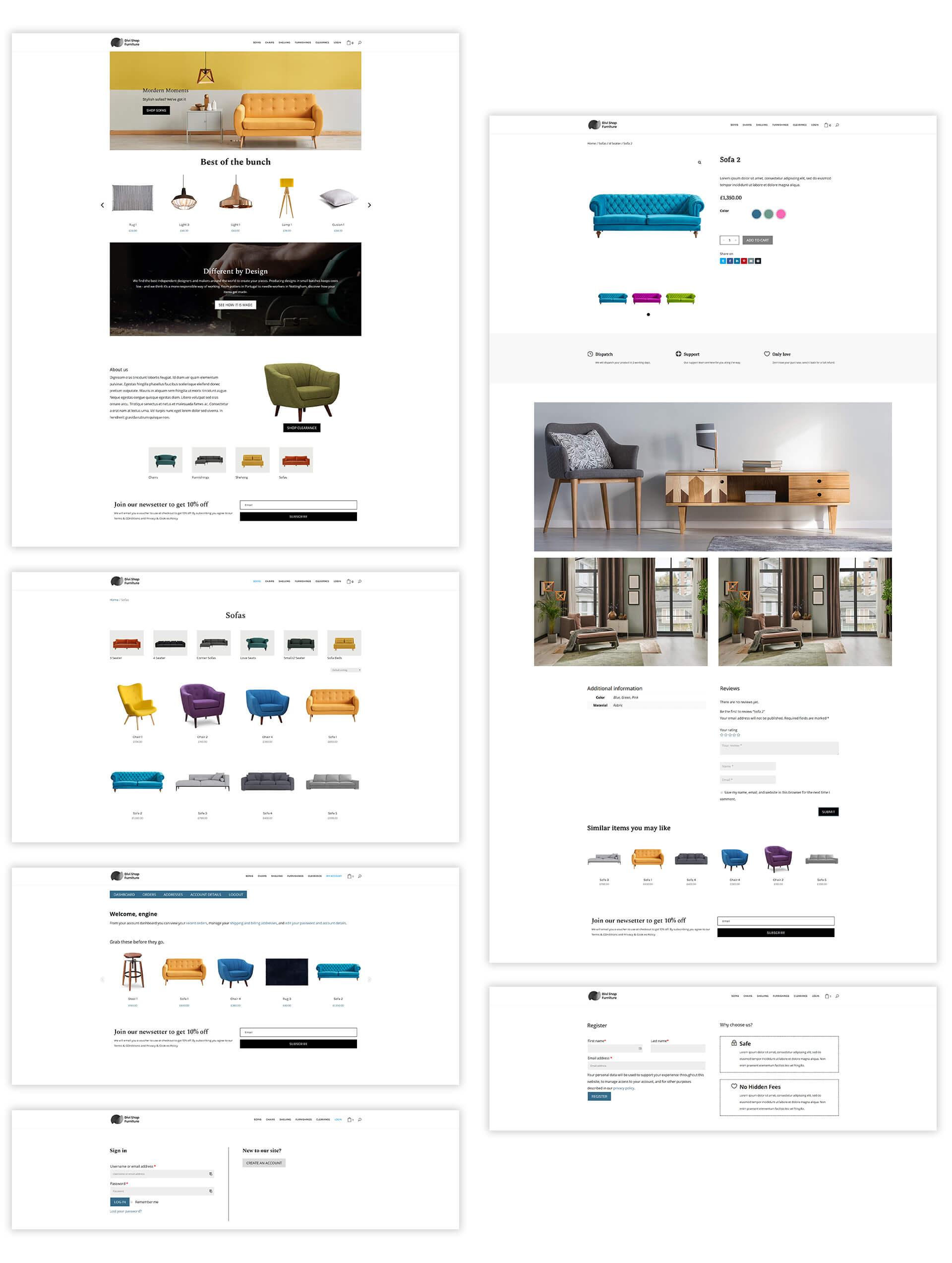 Divi Shop Furntiture Layout Pack