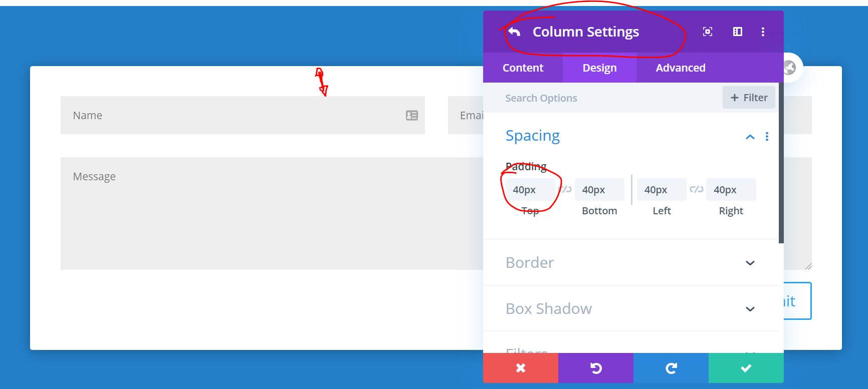 Create Pop-Up Divi Add padding