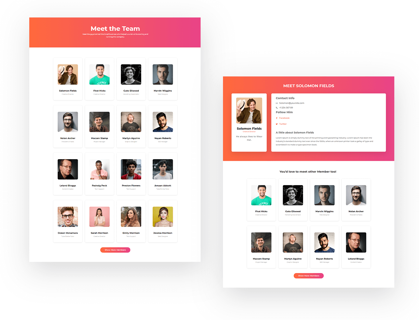 Divi Team Members Layout Pack