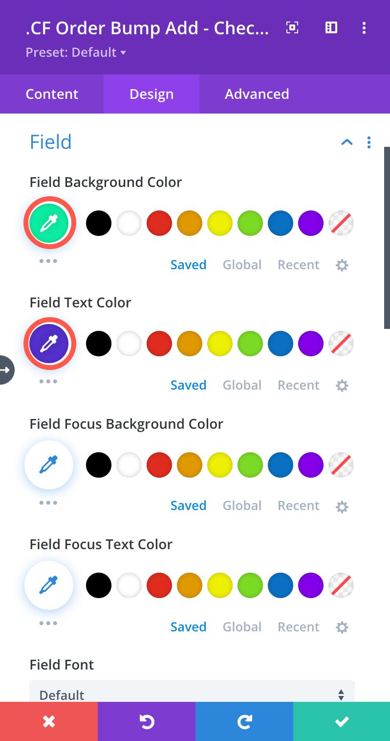 Order Bump Loop Layout Thumbnail Settings