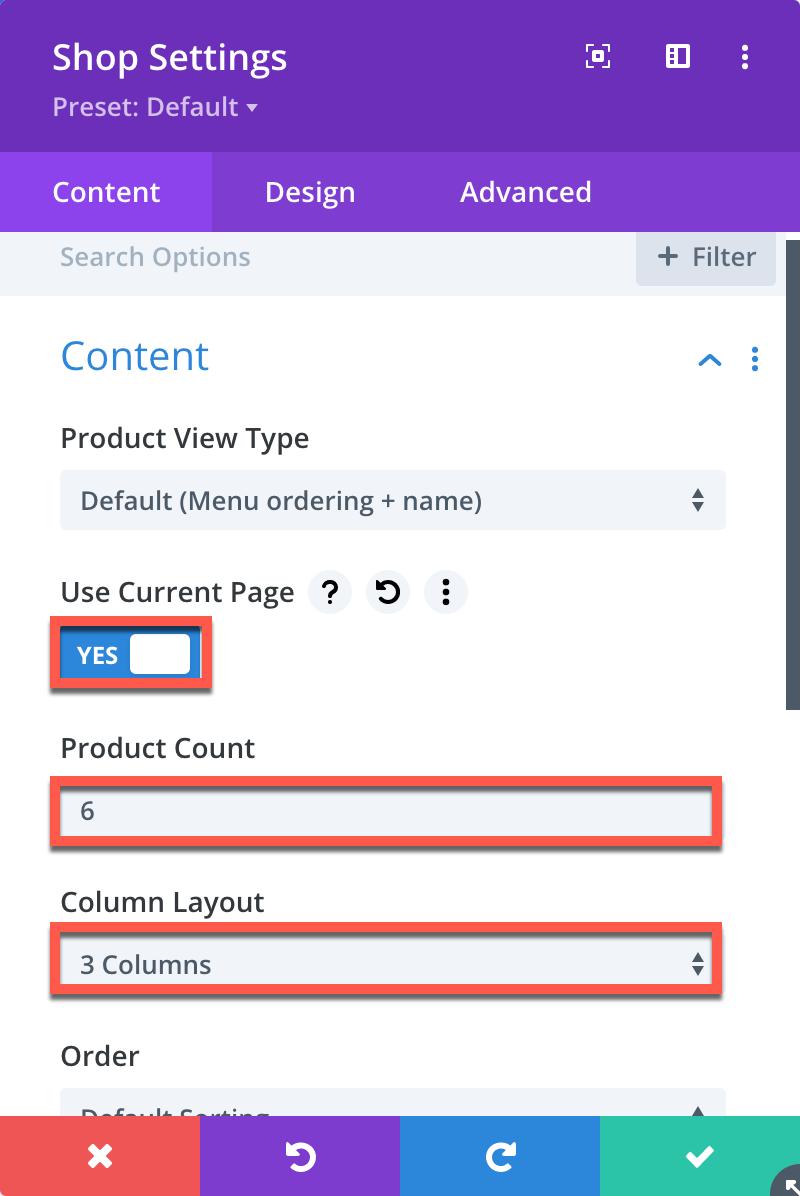 Divi Category Page Shop Module Content