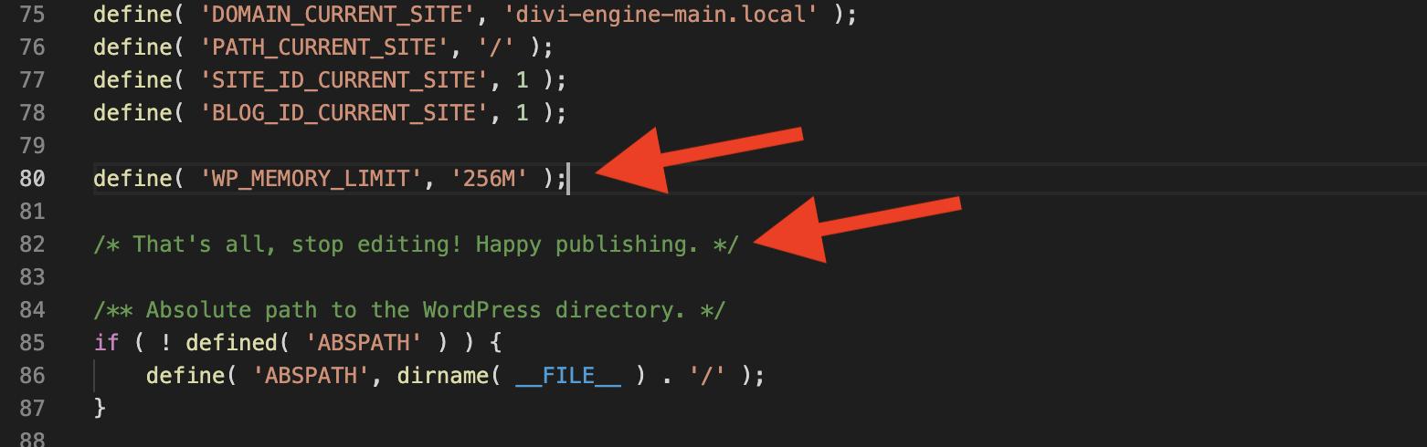 WordPress wp-config.php file