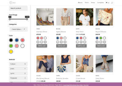 Divi Ajax Filter in BodyCommerce