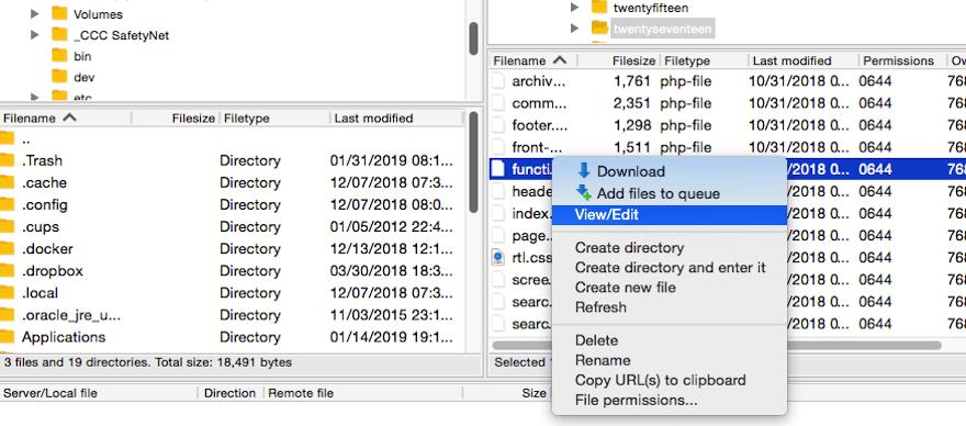 Edit functions.php WordPress