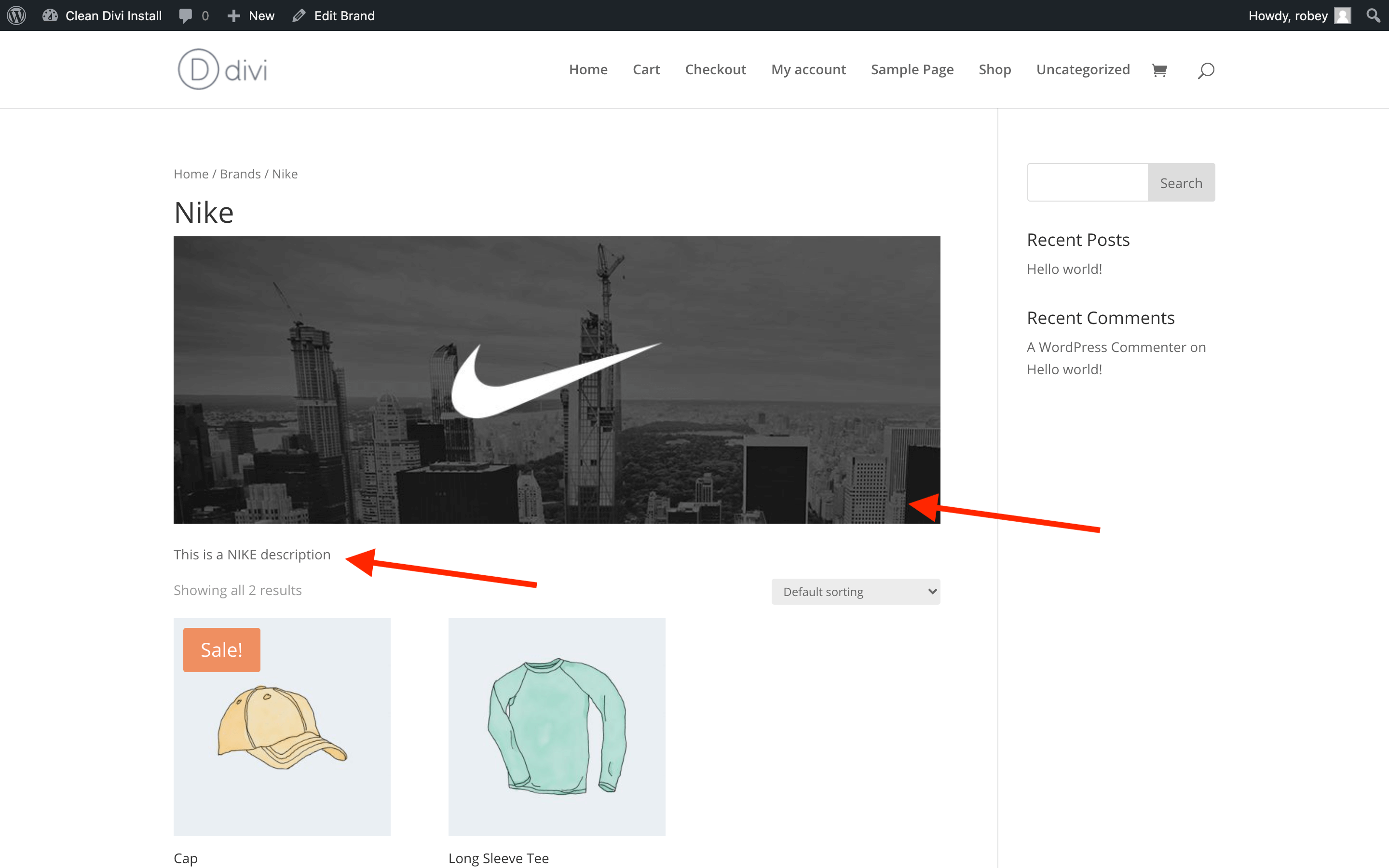 Brand Page in Divi WooCommerce