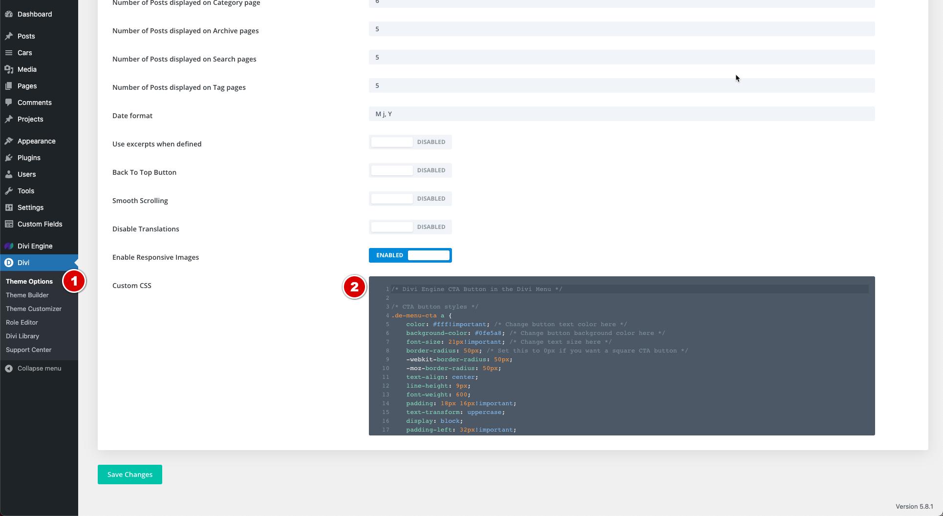 Add CSS for Divi CTA Button